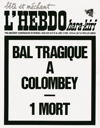 Une de L'Hebdo Hara-Kiri le 17 novembre 1970